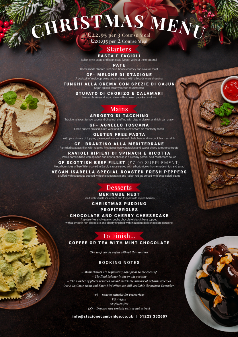 Christmas Menu.Stazione Christmas Menu 2019 Stazione Cambridge Resturant